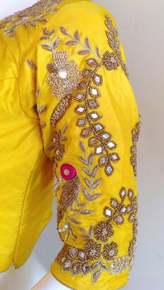 Custom fit pure silk blouse with mirror work image 0 Pattu Saree Blouse Designs, Fancy Blouse Designs, Bridal Blouse Designs, Blouse Neck Designs, Blouse Patterns, Mirror Work Blouse Design, Maggam Work Designs, Mellow Yellow, Pure Silk