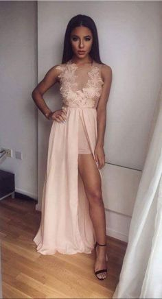 Chiffon and Lace Long Prom Dress with Front #prom #promdress #dress #eveningdress #evening #fashion #love #shopping #art #dress #women #mermaid #SEXY #SexyGirl #PromDresses