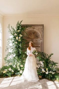 High neck long sleeved lace bodice with tiered skirt. The Aurelian butterflies moths inspired styling by Kate Cullen. Wedding Ceremony Backdrop, Ceremony Decorations, Wedding Arches, Wedding Backdrops, Wedding Ceremonies, Wedding Reception, Small Intimate Wedding, Intimate Weddings, Floral Wedding