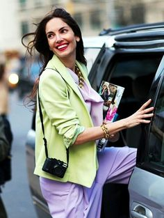 pastel fashion trend - the street style take. Download the #FashEngage iPhone App in the iTunes App Store!