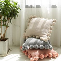 Handmade Knitted Wool Pillow Case Solid Sofa Waits Bedroom Decorative Throw Pillows Cover with Furry Ball What's Decoration? Decoration is … Cute Pillows, Wool Pillows, Diy Pillows, Decorative Throw Pillows, Pillows On Bed, Cute Cushions, Handmade Cushions, Pillow Ideas, Room Wall Decor