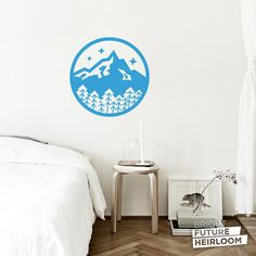 Mountain Badge 03 - Cut Vinyl Removable Wall Decal - Fun Wall Art for your Bedroom Living Room and Nursery! by BrightFutureHeirloom
