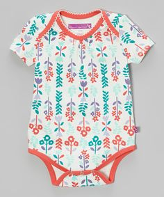 Look what I found on #zulily! Bloom & Petal Coral & Sea Foam Floral Bodysuit - Infant by Bloom & Petal #zulilyfinds