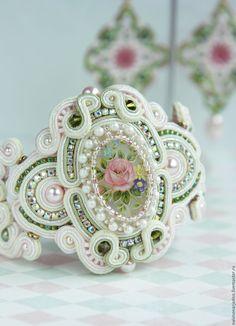 """Купить Комплект украшений """"Мечта"""" - мятный, розовый, белый, свадебные аксессуары, украшения для невесты"""