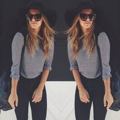 simple striped 3/4 length tee w/ glasses and fedora :)