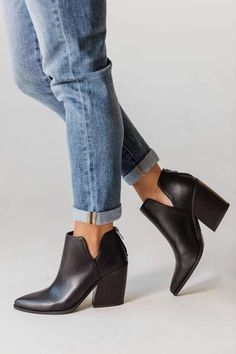 Cute Shoes, Me Too Shoes, Black Booties Outfit, Black Wedge Sneakers, Long Knit Cardigan, Cool Boots, Vegan Leather, Booty, Heels