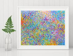 This instant download print is of my original abstract painting titled Flow of Life - including all the colors of the rainbow in an Abstract Impressionist style. This listing includes two high resolution jpg files measuring 8 x 10 and 11 x 14. These are standard sizes so you can pop them into ready made frames for an affordable addition to your wall art collection. Print at home or use a service such as Staples, Costco, Target, Walmart, etc. If you do print at home, be sure to use quality…