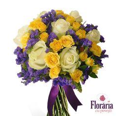 Buchet trandafiri albi, galbeni si flori mov Rose Bouquet, Classic Beauty, Online Boutiques, Bouquets, Floral Wreath, Roses, Wreaths, Design, Decor