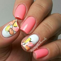 OMG! Take a look at these beauties! Autumn, one of my favorite nail artist created this mani for her vacation to Korea. Yes....Korea, I'm so jealous, but also happy she's taking a break. @justagirlandhernails created this look using Purjoi Nail Studio, Baby Doll, French White, Lemon Candy, and Sweet Sorbet. She used black acrylic paint for the outlines on the flowers. ABSOLUTELY STUNNING!