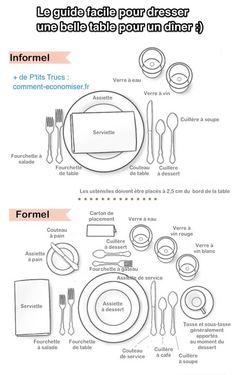 Qu'il s'agisse d'un dîner plutôt informel ou au contraire d'un dîner chic formel, vous allez savoir dresser la table sans faute de goût. Regardez :-)  Découvrez l'astuce ici : http://www.comment-economiser.fr/dresser-belle-table-pour-diner-le-guide-facile-en-image.html?utm_content=bufferd73b9&utm_medium=social&utm_source=pinterest.com&utm_campaign=buffer