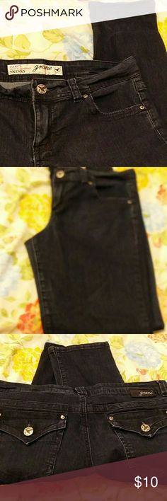 Grane Darcy Super Low Rise Skinny Jeans Dark Wash Grane Darcy Super Low Rise Skinny Dark Wash Jeans Two front pockets  Two back pockets  18 inch waist across  38.5 inches long pants Juniors/Teen Sizing 13 Great condition:no tears, no stains, no holes Grane Pants Skinny