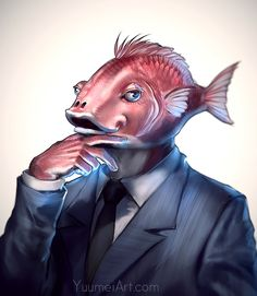 Business Fish by yuumei on DeviantArt
