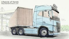 truck drawing- volvo fh16 truck 6×4