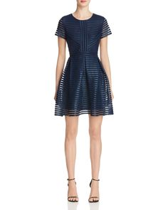 AQUA Coated Stripe Neoprene Dress