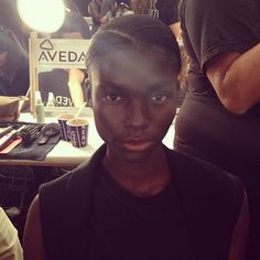 Loving the deep side parts by #Aveda at Richard Chai. Lead stylist Frank Rizzierri says to use your eyebrows as a guide to find a part that works for you. #NYFW