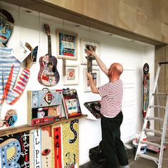 "Jonny Hannah installing work for his ""Main Street"" exhibition, which runs at the Yorkshire Sculpture Park from 14 November 2015 to 28 February 2016"