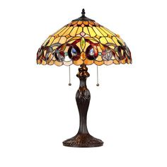 Chloe Tiffany Style Victorian Design 2-light Table Lamp, Brown