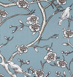 """Vintage Blossom, Jade""  Introducing Dwell Studio and their Eclectic Modern collection in beautiful 100% cotton prints.  The colors in this gorgeous, large scale print is a blue-green with grey-beige (""greige"") and white & black contrast lines."