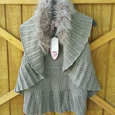 New Sweater Vest Cardigan Fur open Light sweater vest /Taupe volor dolled up Sweaters Cardigans