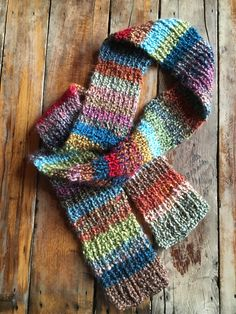 Josephina Hand-Knitted Homespun Scarf in a Rainbow of Color by ajunkersjournal on Etsy
