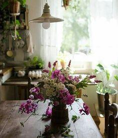 Raindrops and Roses Decor, Cottage, Cottage In The Woods, Spring Decor, Raindrops And Roses, Cottage Decor, Floral Arrangements, Country Cottage Decor, Inspiration