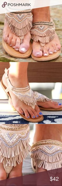 Gadiator Boho Fringe Studded Aztec Sandals Embellished with various beads and chain. Adjustable strap by ankle . Earthy suede like material . Super soft . Shoes Moccasins