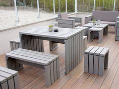 Gartenmöbel Set 1 mit Hocker, wetterfestes Holz, Douglasie, Tranpsarent Grau - www.holzweise.de