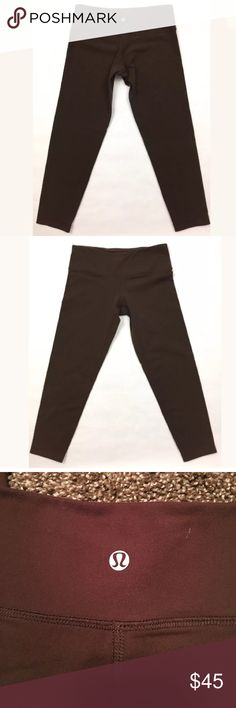 Brown Lululemon Cropped Leggings Brown Lululemon Cropped Leggings. The size tag is missing from these. They are probably like a 4 I've taken actual measurements. Measurements (taken lying flat) Length: 27 inches Inseam:19.5inches Hips: 13 in so probably 26inches if you measure around    These are in very good condition with no pilling!!!! Please don't buy and complain they don't fit right. I've given measurements and if you need more please ask lululemon athletica Pants Leggings