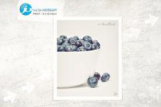 "Food Fine Art Print, Food Photografie, Modern Food Photo, Kitchen Decoration, Food Wallart - ""Blueberries in a bowl No. 5"" by JenniferVahlbruchUSA on Etsy"