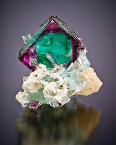 Fluorite with the aquamarine   #Geology #GeologyPage #Mineral  Locality:  Erongo Mtns Namibia.  Photo Copyright  Jeff Scovil.  Geology Page www.geologypage.com