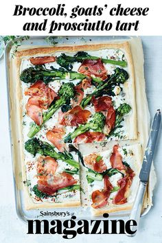Break out of your midweek rut with our broccoli, goats' cheese and prosciutto tart recipe - a fresh tasting family dinner in just 30 minutes Puff Pastry Recipes, Tart Recipes, Cooking Recipes, Midweek Meals, Weeknight Meals, Savoury Baking, Savoury Pies, Savory Tart, Prosciutto