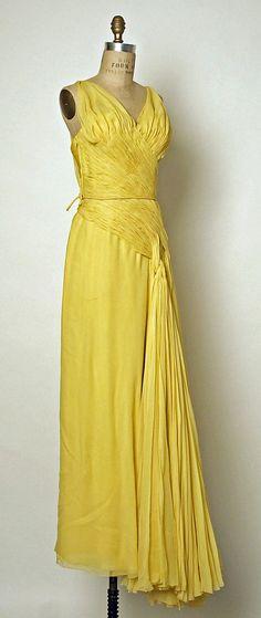 "Evening Dress, Jean Dessès (French, born Egypt, 1904–1970): 1950-54, French, silk.    Marking: [label] ""Jean Dessès, 7 Matignon, Paris"""