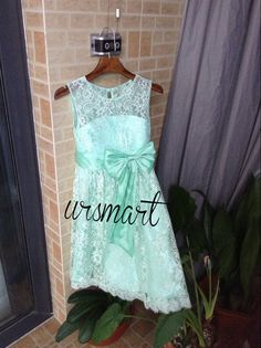 Mint Lace Flower Princess Dress Flower girl dresses Baby Girl Toddler Birthday party dress Bridal Sash bowknot can be custom color