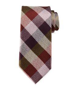 Massimo Bizzocchi multi-check silk tie in brown/pink