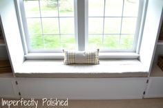 DIY Window Seat Cushion Tutorial...for the window in our dining room, side bookcases and all