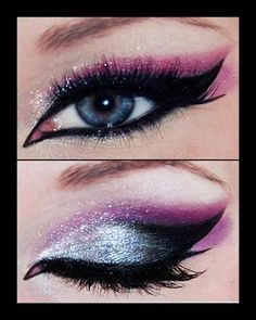 Purple, silver and black eyeshadow