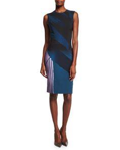 Prabal Gurung Sleeveless Colorblock Sheath Dress, Indigo In Teal Dress Clothes For Women, Dresses For Work, Blue Dresses, Teal Green Dress, Teal Blue, Dress Outfits, Fashion Dresses, Sheath Dress, Slit Dress