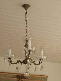 Vintage French crystal drop 3 branch chandelier by FrenchlyMoments, $232.00  I want this for my bedroom