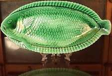 Vintage Sarreguemines Green Majolica Fish Serving Platter, 1930's