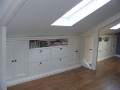 If you are lucky enough to have an attic in your home but haven't used this space for anything more than storage, then it's time to reconsider its use. An attic Attic Bedroom Designs, Attic Bedrooms, Attic Design, Upstairs Bedroom, Bedroom Doors, Eaves Storage, Loft Storage, Bedroom Storage, Storage Ideas