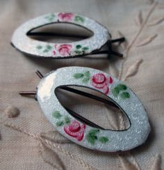 I had these exact enamel hair barrettes in the late Hair Barrettes, Hair Clips, Hair Vanity, Vintage Outfits, Vintage Fashion, Old Hollywood Glam, Childhood Days, Vintage Perfume Bottles, Retro Hairstyles