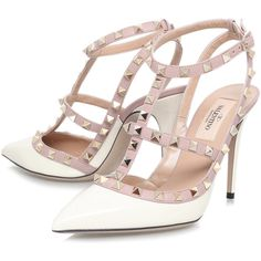 Valentino Champagne Rockstud 100 T-Bar Courts (15,315 MXN) ❤ liked on Polyvore featuring shoes, pumps, ankle strap shoes, high heel pumps, pointed toe high heel pumps, off white pumps and valentino pumps