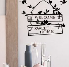 Welcome sweet home Black Wall Decal Living Room Bedroom Wall Sticker Removable #Removable #Traditional #BlackBirds #HomeSweetHome