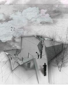 fabriciomora:    Entrance Perspective  Mixed Media - Pencil + Photoshop + Illustrator + Watercolor