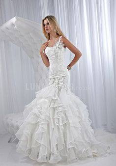 Beatutiful Organza Dropped One Shoulder Mermaid Wedding Dresses