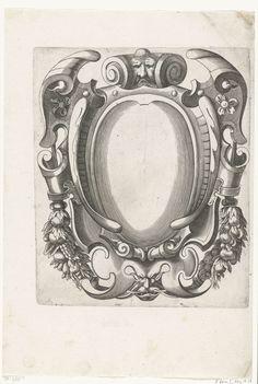 H. Picart   Cartouche met twee mascarons op voluten, H. Picart, Federico Zuccaro, Anonymous, c. 1628   Langs de zijkanten hangen guirlandes aan linten.
