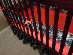 Custom camo cribset handmade personalized orange real tree camo timber tree design crib set check us out on FB Vinti m baby