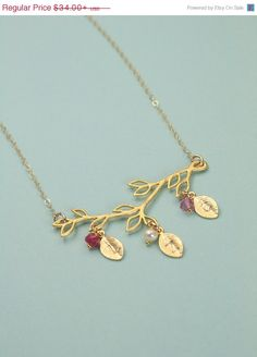 Birthstone Personalized Gold Branch Necklace, Birthstones and Initial leaves by MenuetDesigns