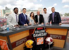 9/4/2016 ESPN's college game day. Desmond Howard, Reese Davis, Aly Raisman, Lee Corso, Aaron Rodgers and Kurt Herbstret.