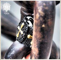 Gold Cross Warrior Ring.  925 Sterling  Silver Black Rhodium Black Spinel www.PAKINsince2012.com